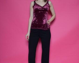 Vintage 90's Velvet Strappy Top / Burgundy Velvet Top / Sleeveless Velvet Blouse - Size Small