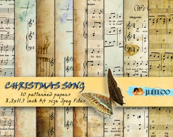 CHRISTMAS SONG 10 large vintage holidays music digital collage sheets - papers for scrapbooking jpg art instant download printable - pp123
