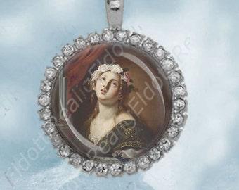 Saint cecelia catholic medal st cecilia vp606 st cecilia catholic medal charm cabochon religious christian pendant aloadofball Gallery