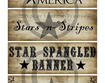 Primitive Americana Sayings Flag Stars Stripes Jpeg Digital Pantry Labels Many Uses!  Rag Tags, Hang tags Magnets Ornies Crate Jar Box Crock