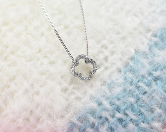 Bridesmaid! Handmade Sterling Silver Clover Necklace with  Swarovski crystals.