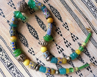 African Beads, Necklace, Ethno Style, Millefiori Beads (Murano Trade Beads), Krobo Beads Ghana, faceted glass beads, bronze beads, Calcit