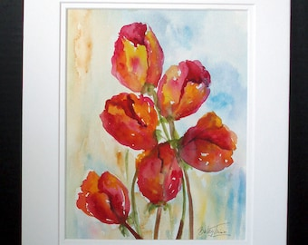 Red and Yellow Tulip Flowers Original Watercolor Painting, Floral Art, Home decor, Tulip Art, Wall Art