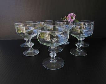 8 Vintage Coupe Champagne Glasses - Mid Century - Vintage Coupe Glasses- Hollywood Regency Elegance - Generous Bowl - Faceted Shaped Stem
