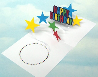Pop Up Birthday Card Spiral Pop Up 3D - Multi Colour Stars - Happy Birthday Card 3D Stars Pop Up Spiral - PopUp Card