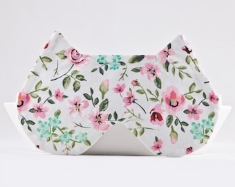 Cat Sleep Mask, Floral Bridesmaid Gift Idea, Gift for New Mom, Travel Gifts for Women, Cat Ears, Cat Lover Gift, US Express