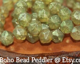 Czech Glass Beads, 10mm English Cut, 15 Beads