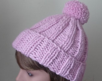 Chunky Knit Hat with Pompom and Rolled Brim Warm Wool Blend Winter Hat in Pink - Ready to Ship - Gift for Her