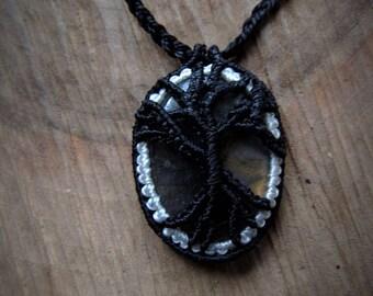 Macrame necklace. Macrame stone pendant. Micromacrame necklace. Gemstone healing jewelry. Long pendant. pendant tree