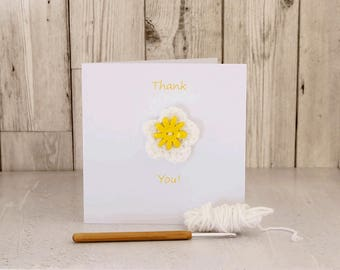 Greetings Card - Thank You! - removable crochet flower brooch/pin