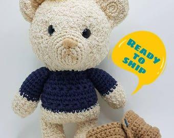 Ready-to-ship. Crochet bear with crown. Amigurumi bear.