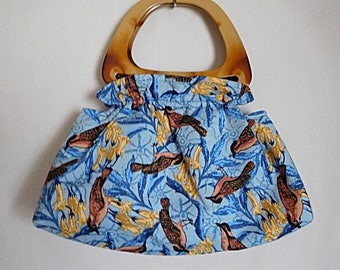 Birds on blue ruffled bag, Top handle bag, Birds on blue bag,  Blue gathered and ruffled bag with top handles