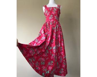 Vintage Laura Ashley Dress / Cotton Sun Dress / Floral Print Dress / Full Circle Skirt / FREE USA Shipping
