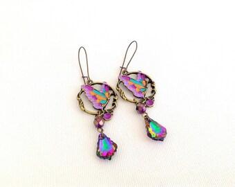 butterfly chandelier earrings, baroque crystal earrings, rainbow butterfly earrings, gypsy chandeliers, niobium earrings