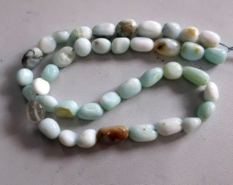 Brand new Natural PERUVIAN OPAL smooth oval nuggets beads,sky blue color smooth nuggets,oval beads,7 mm - 11 mm Approx,16 inch strand[E3871]