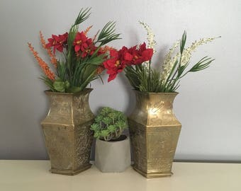Matching Vintage Brass Vases