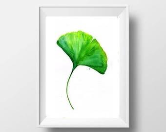 Ginkgo leaf watercolor painting plant leaf print green decor print ginkgo botanical beach wall art decor 4x6 5x7 8x10 8x12 tropical print