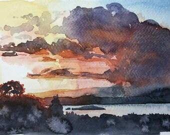 Original Watercolor Painting, Original Watercolor Artwork, Watercolor Seascape, Sunset Watercolor, Perfect Gift