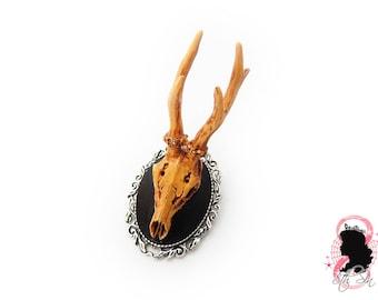 """5"""" Antique Silver Deer Skull Brooch, Antique Silver Deer Skull Cameo Brooch, Silver Stag Brooch, Silver Stag Skull Brooch, Antler Brooch"""