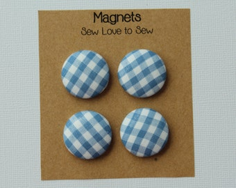 Fabric Covered Button Magnets / Blue and White Plaid Magnets / Plaid Magnets / Strong Magnets / Refrigerator Magnets / Fridge Magnets
