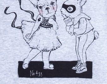 """Ladies T-SHIRT """"Kamasutra""""/t-shirt gris/ t-shirt blanc/ illustration marrante/ Lapin/ super-héros/ Vans/ bouledogue/ séduction/ Ballerine"""
