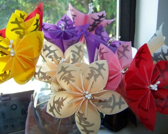 Origami Wedding Bouquet 10 Large Kanji Happiness Flowers