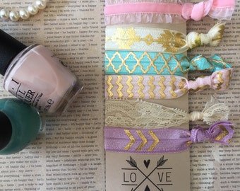6 Trendy Soft Elastic Hair Ties No Crease Pink Ivory Lace Gold Aztec Chevron Bracelet Yoga Wristband