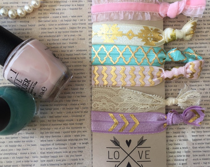 6 Trendy Soft Elastic Hair Ties No Crease Pink Ivory Lace Gold Aztec Chevron Bracelet Yoga Wristband