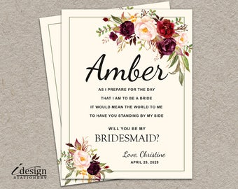 Will You Be My Bridesmaid Card | DIY Printable Boho Bridal Party Proposal Cards With Pink Watercolor Flowers | Maid Of Honor And Flower Girl