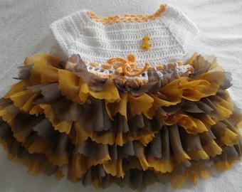 crochet ruffled 6 months dress