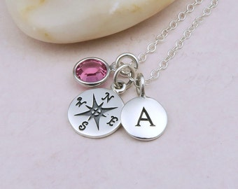 Silver Compass Necklace, birthstone, compass, initial necklace, sterling silver, travel gift, graduation, Enjoy the Journey