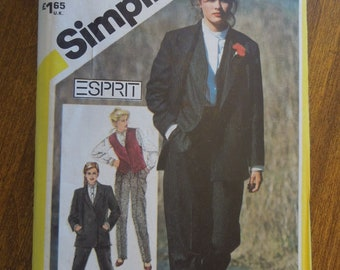 Simplicity 5653, misses size 16, shirt, toursers, lined boxy jacket and vest, UNCUT sewing pattern