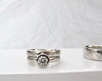 Driftwood Wedding set, .50ct GIA diamond solitaire with matching diamond wedding band platinum