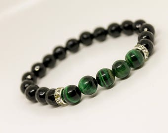 8mm Green tiger eye Bracelet Bracelet Onyx Bracelet Womens Beaded Bracelet Bracelet for Women Beaded Bracelet Stretch bracelet