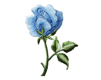 Blue Roses Flower Embroidered Applique Iron on Patch 4.8 cm. x 7 cm.