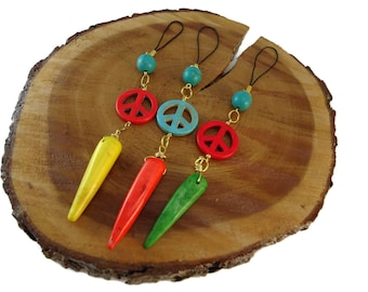 Peace Sign Charms Large Accessories for Bags, Brightly Colored Spike Charm for Tote Bags, Peace Symbol Charm 90's Inspired Accessories