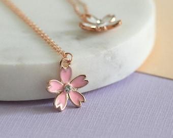 Blossom Rose Gold Enamel Necklace - Rose Gold Fill | Handmade necklace | rose gold necklace | 4th wedding anniversary flower | enamel