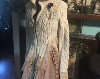 Romantic gypsy bohemian sweater jacket