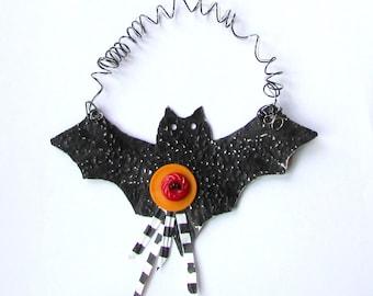 Black Metal Bat Ornament - Halloween Bat Ornament - Recycled Metal Ornament - Upcycled Bat Ornament - Eco Friendly Ornament