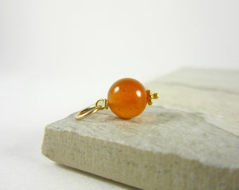 Add on Charms - Real Stone Jewelry Handmade - Bright Orange Carnelian Necklace Charm - Natural Gemstone Pendant - Orange Chalcedony - Sard