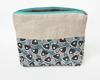 Pouch bag, cosmetic bag, eco bag. Eco friendly, organic linen&screen printed organic cotton bamboo, toiletry bag, free shipping.