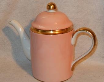 Fitz Floyd Renaissance Peach Porcelain Teapot Coffee Pot 48 oz Gold Trim Salmon  Free Shipping