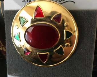 Vintage Styled by Roxan Brass Enameled Pin - New/Old Stock