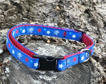 Small dog 4th of July Fireworks and Stars Adjustable Collar