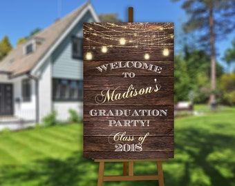 Rustic Graduation Party Decorations 2018 Printable Yard Sign Welcome Poster