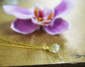 GENUINE raw Citrine Necklace Healing Crystal Gold
