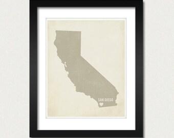 I Love San Diego 8x10 Art Print - California City State Heart