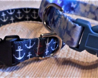 Webbing Collar For Dogs Featuring Anchors or Butterflies
