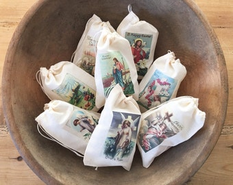 Catholic gifts etsy easter religious catholic gift bags set of 8 vintage 4x6 or 3x5 drawstring cotton negle Choice Image
