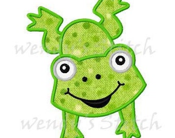 Jumping frog applique machine embroidery design digital pattern